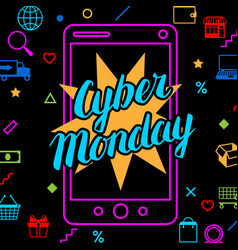 cyber monday sale background online shopping and vector image