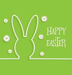 easter background with bunny outline and daisies vector image