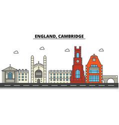 england cambridge city skyline architecture vector image