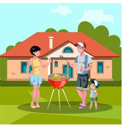 Family enjoying barbecue outdoors vector