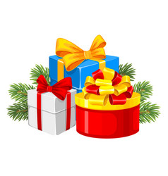 festive gift boxes with bows and spruce branches vector image