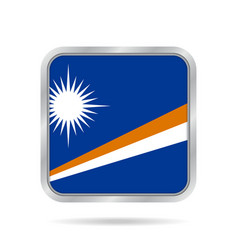 Flag of marshall islands metallic square button vector