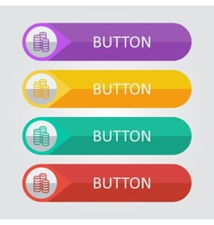 flat buttons with coins icon vector image