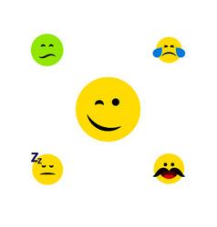 Flat icon emoji set of winking asleep cheerful vector