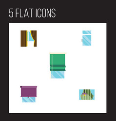 Flat icon frame set of curtain balcony clean and vector