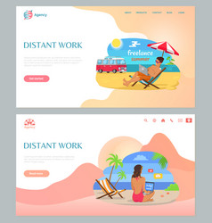 Freelancers working on beach with laptop vector