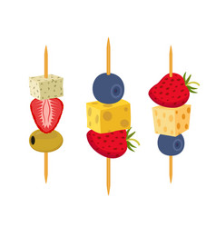 Fruit berries canapes snack appetizer vector