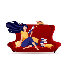 girl in glasses reading a book in red retro sofa vector image
