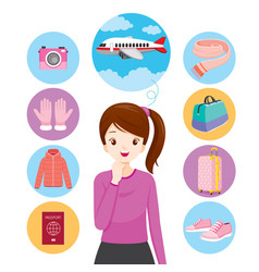 Girl with icons clothes and necessities vector