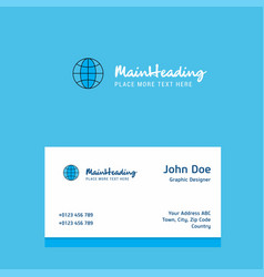 globe logo design with business card template vector image
