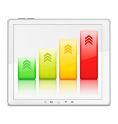 Graph on the screen of Tablet PC vector