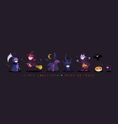 halloween cartoon characters wearing face mask vector image