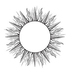 Hand drawn etching style frame in a shape sun vector