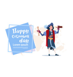 Happy columbus day american discovery holiday vector