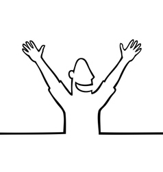 Happy man with hands in the air vector image vector image