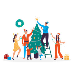 Happy people decorating christmas tree family vector