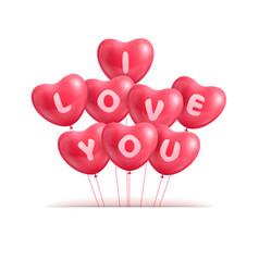 Hearts ballon realistic valentine vector