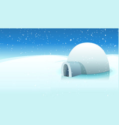 Igloo and polar icy background vector