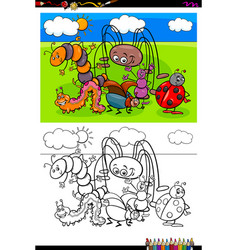 insects animal characters group color book vector image