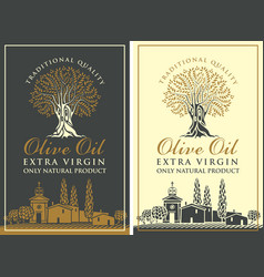 Labels for olive oil with countryside landscape vector