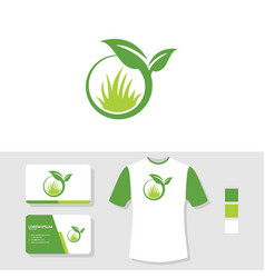 leaf and grass logo design with business card and vector image