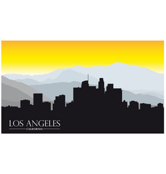 Los angeles california skyline with mountains and vector