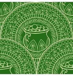 Mandala with pot and coins clover Black white vector