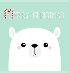 Merry christmas candycane polar white bear cub vector
