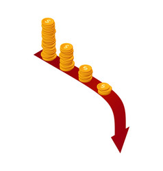 money falls concept isometric stacks vector image