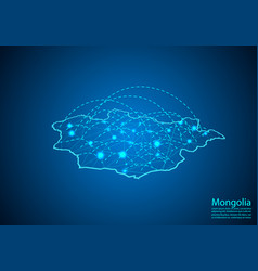 mongolia map with nodes linked by lines concept vector image