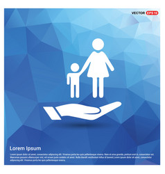 Mother and child in hand icon vector