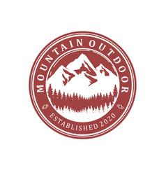Mountain logo outdoor emblem circle - adventure vector