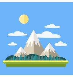Mountains Landscape with Clouds and Forest vector