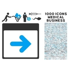 Next calendar day icon with 1000 medical business vector