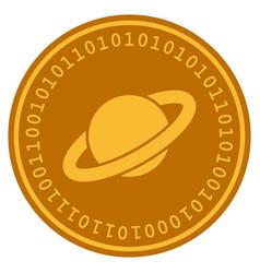 Planet saturn digital coin vector