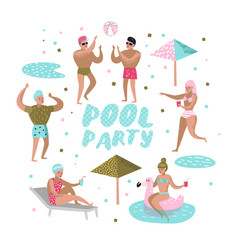 pool party characters people swimming relaxing vector image