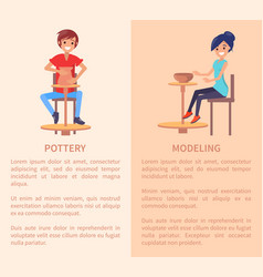 Pottery and modeling posters with people and text vector