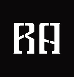 Ra logo monogram with middle slice design template vector