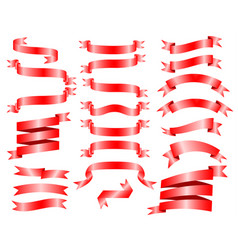 red ribbon banner set on white background draw vector image