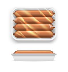 Sausage in supermarket package vector