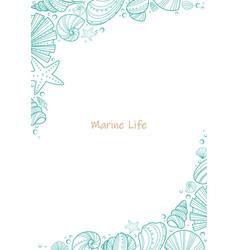Sea shell doodle frame vector