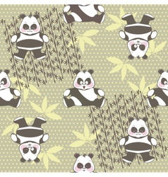 Seamless background of different pandas in the vector
