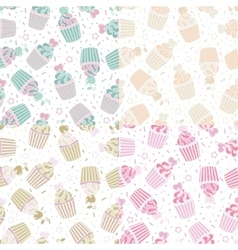 seamless pattern of cute cupcakes vector image