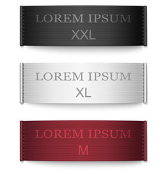 set black white red color fabric tags vector image