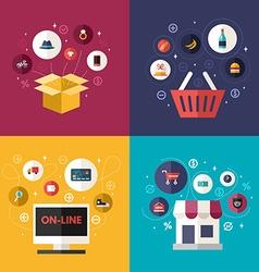 Set of Flat Design Concept of E-commerce Symbols vector image