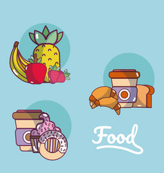Set of food cartoons vector