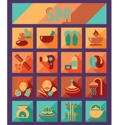 set spa and beauty flat icons healthcare salon vector image
