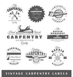 Set vintage labels carpentry vector