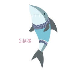 shark in sweater childish cartoon book character vector image