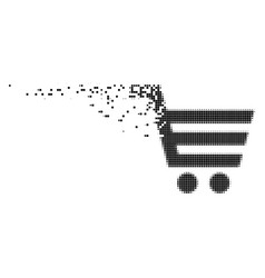 Shopping cart moving pixel icon vector